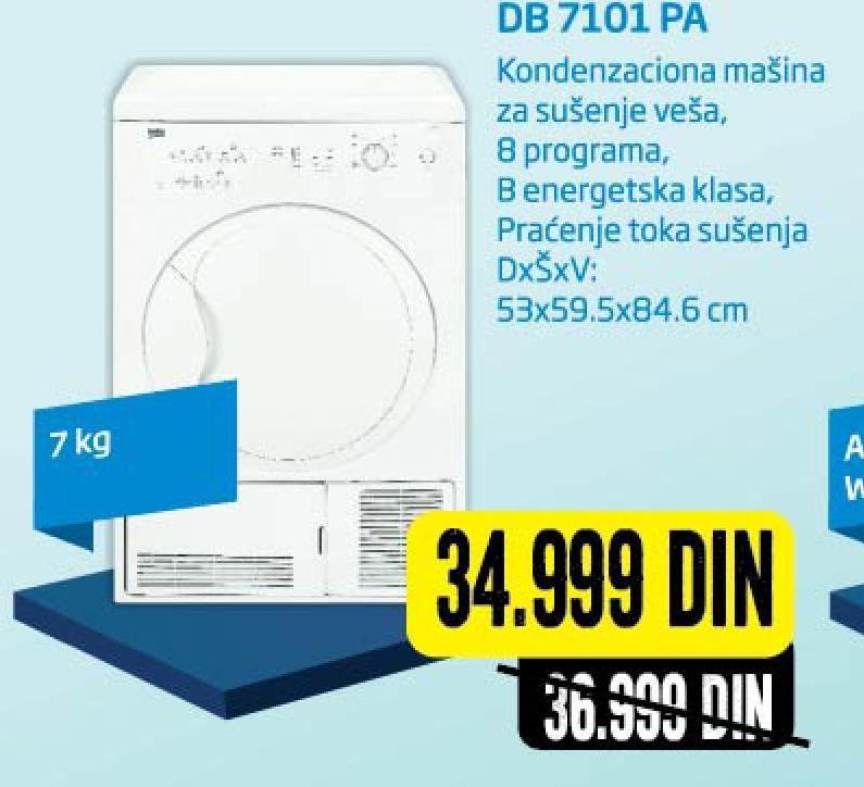 Kondenzaciona mašina za sušenje veša DB7101 PA