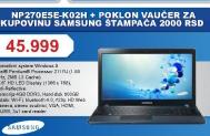 Laptop Samsung NP270E5E-K02HS +Poklon vaučer od 2000 dinara za kupovinu Samsung štampača