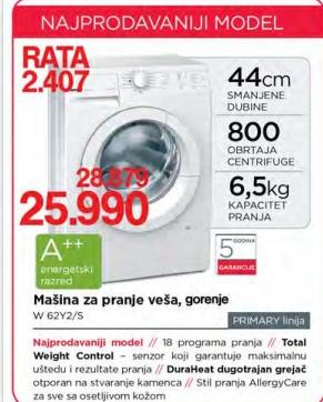 Mašina za pranje veša W62Y2/S