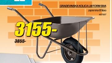 Građevinska kolica lm form siva