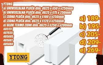 Ytong zidna ploča 625x100x250mm