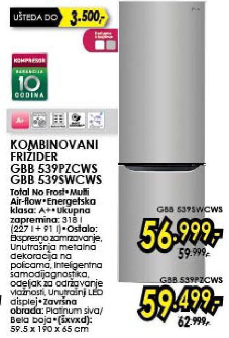 Frižider Kombinovani GBB539PZCWS