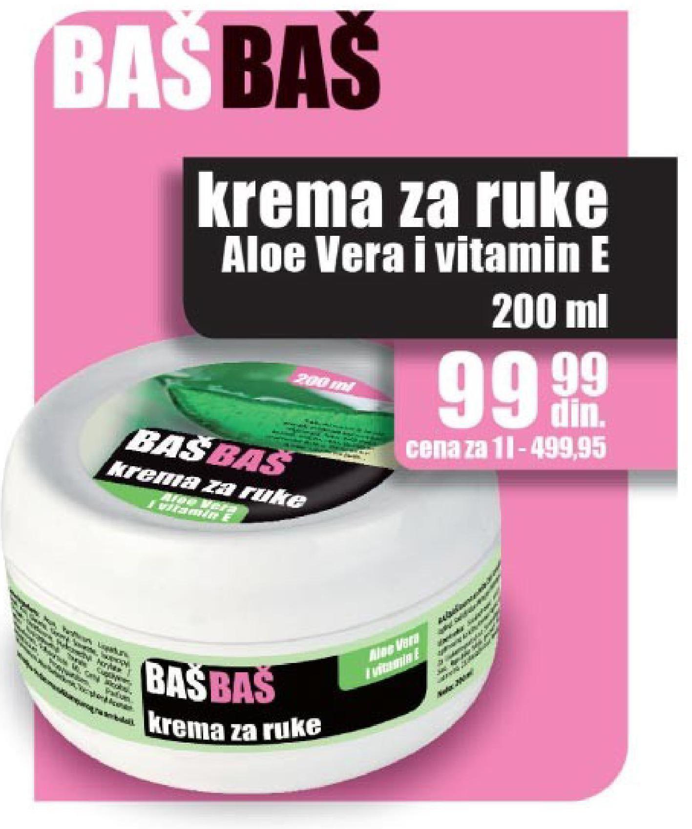 Akcija Trgopromet - Baš Baš Krema za ruke aloe vera i vitamin E 550819  Akci...