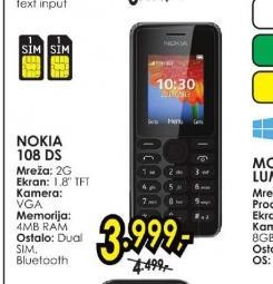 Mobilni telefon N 108 DS BK