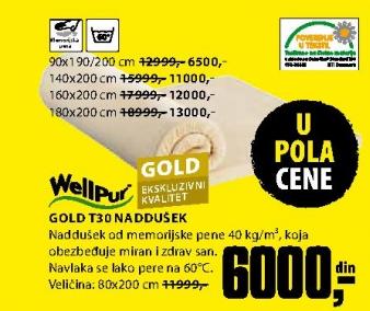 Naddušek, Gold T30 180x200 cm