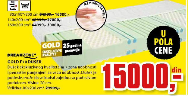 Dušek, Gold F70 160x200 cm