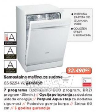 Samostalna Mašina Za Pranje Sudova Gs 62214 W