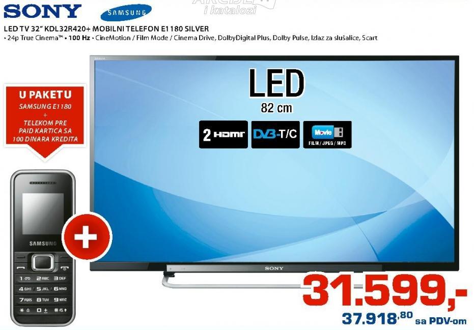 """Televizor LED 32"""" KDL-32R420 Poklon Samsung E1180 mobilni telefon"""