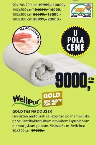 Naddušek Gold T65 90x190/200