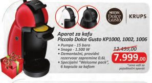 Aparat za kafu Krups, Dolce Gusto Piccolo, KP1000