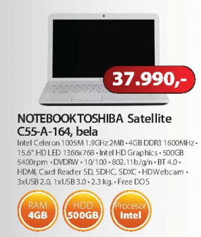 Laptop Toshiba Satellite C55-A-164