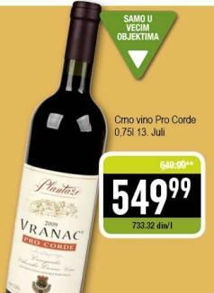Crno vino Pro Corde