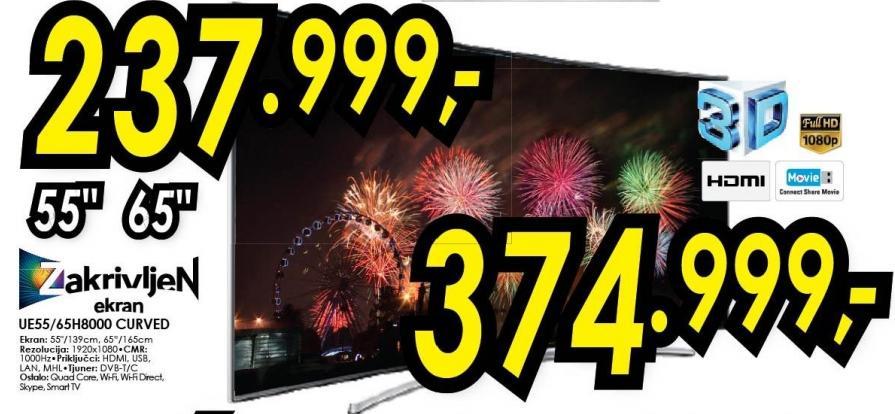 "Televizor LED 65"" 3D Ue65h8000 Curved"