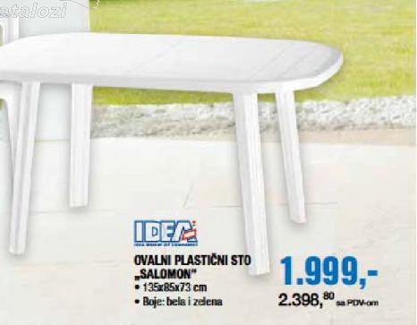 "Ovalni plastični sto ""Salomon"""