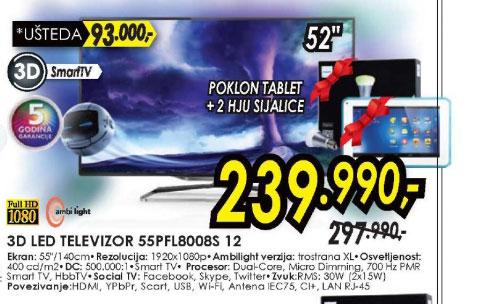 3D televizor LED LCD 55PFL8008S/12+poklon Tablet