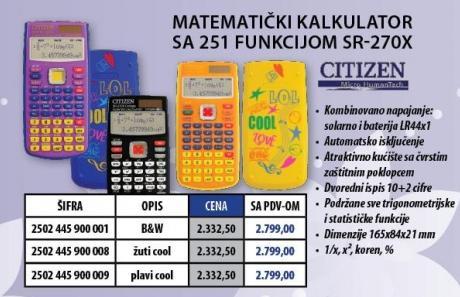 Matematički Kalkulator SR - 270X