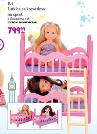 Igračka Evi lutkica i kreveti na sprat
