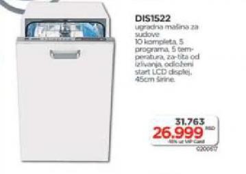 Ugradna Mašina Za Pranje Sudova, DIS1522
