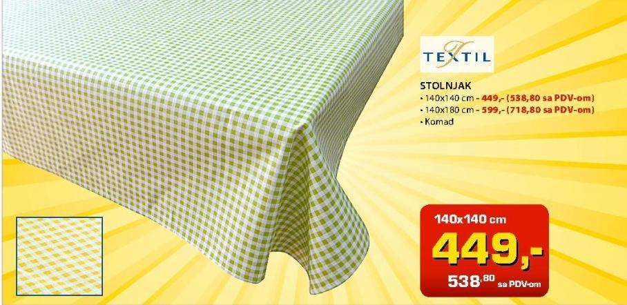 Stolnjak 140x140cm Textil