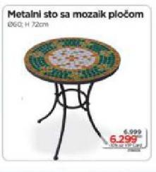 Metalni sto sa mozaik pločom