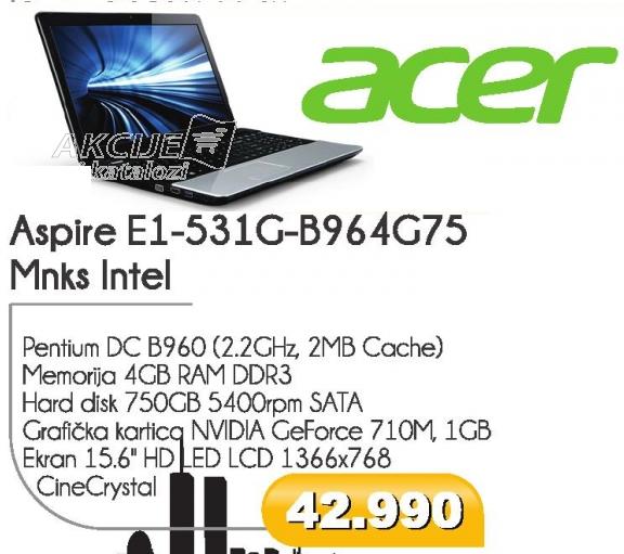 Aspire E1-531g-B9604G75 Mnks Intel