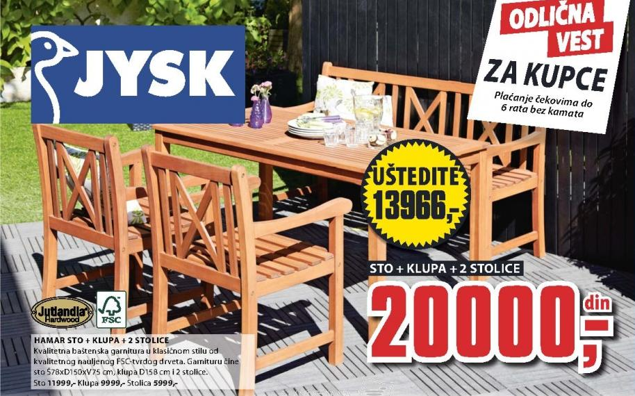 Baštenski sto sa klupom i 2 stolice Hamar