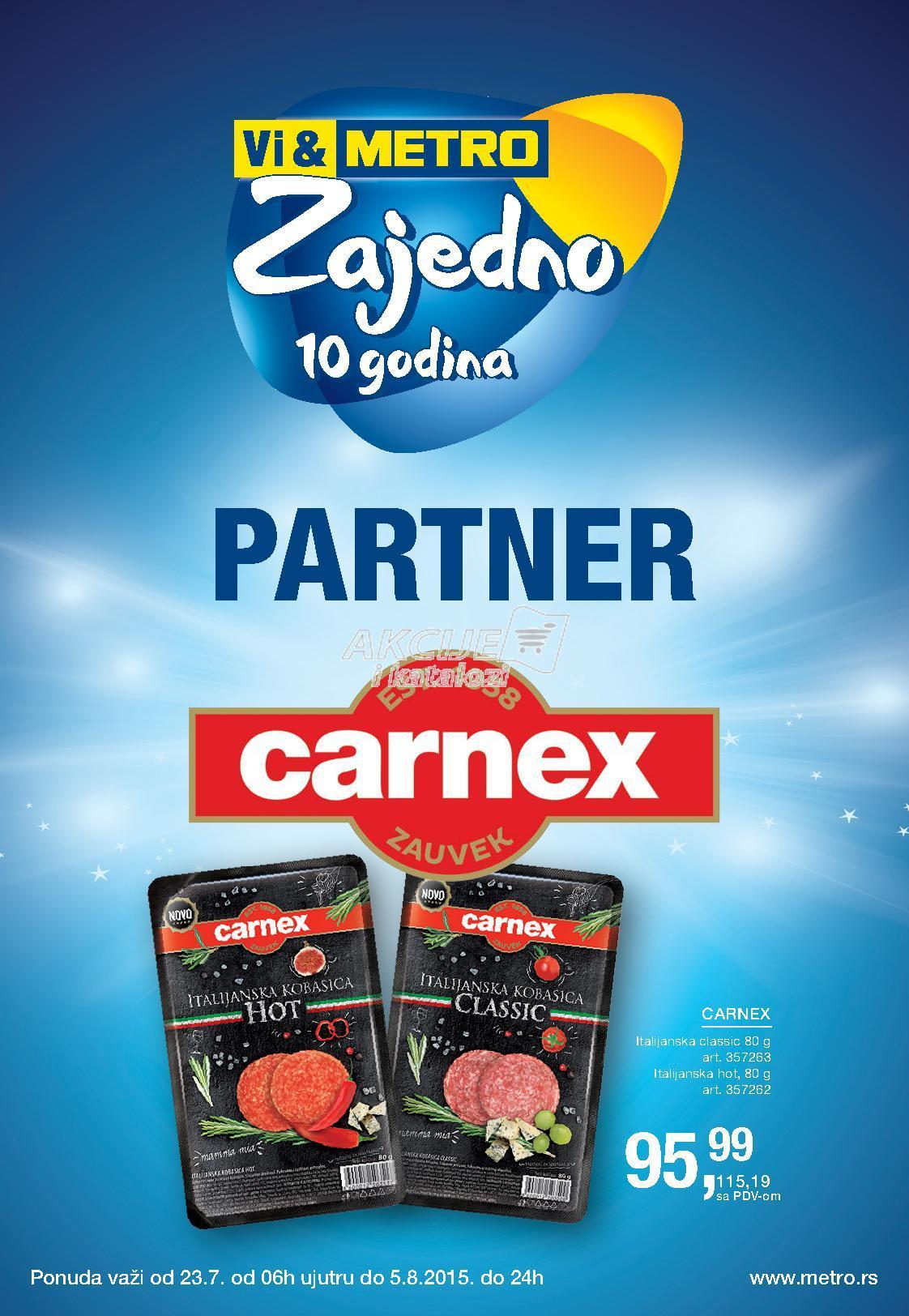 Metro - Redovna akcija super cene Carnex proizvoda